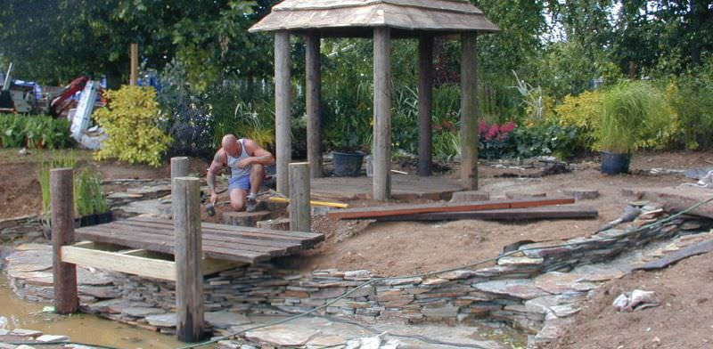 Tips on pond bridges jetties and stepping stones for Pond building tips