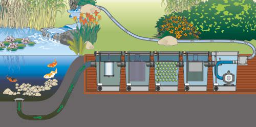 Fish pond filtration design basics for Gravity fed pond filter system